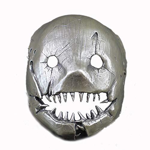 LIULINAN Beängstigende Metzger Maske Halloween Horror Ornament Head Requisiten Gruselig,Gray