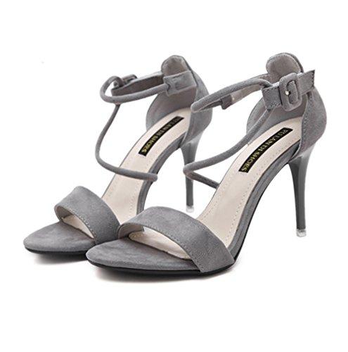 Damen Sandalen Nubukleder Schnür Peep-Toe High-Heels Elegant Rutschhemmend Atmungsaktiv Sommerlich Topaktuell Schick Stiletto Grau