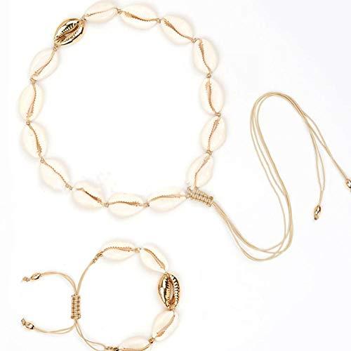 Febelle KWX691 Halskette mit Halskette aus natürlicher Muschel, handgefertigt, mit Kordel, verstellbar, Bohemianischer Strandmuschel -