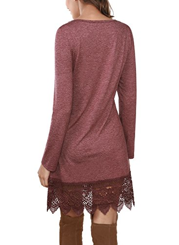 DJT Femme Robe en tricot Dentelle Lace Manches longue pour printemps Tunique longue Rouge