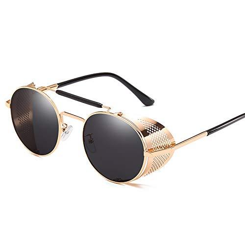 WSXCDEFGH Unisex Steampunk Sonnenbrille Männer Frauen Markendesigner Runde Sonnenbrille Männer Steampunk Brille Brille Gold Rim Band