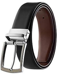 Eliz Luxe Reversible Classic Dress Belt Italian Top Grain Leather Black & Brown