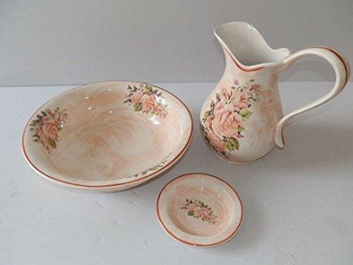 Set Toilette in Ceramica per Lavabo Bagno Antico Rosa Rose Ferro battuto
