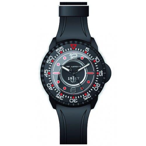 Ted Lapidus 5123203 - Reloj analógico de cuarzo para hombre con correa de caucho, color negro