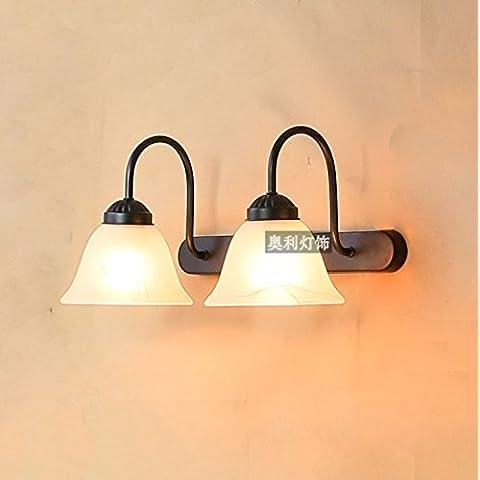 XiangMing Prima lo specchio a doppio faro retrò continentale ferro da stiro Bagno specchio lampada desktop lampada igienica,Doppia testa Small