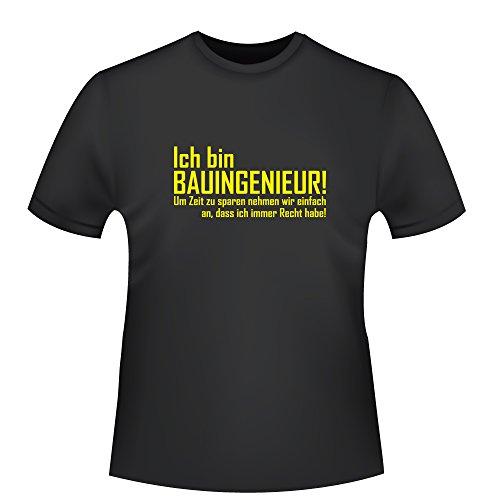 Ich bin Bauingenieur, Herren T-Shirt - Fairtrade, Größe M, schwarz