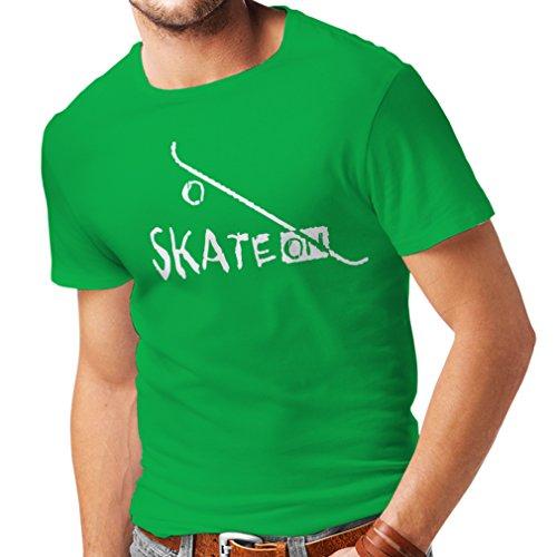 lepni.me Maglietta da Uomo Skate ON ! Motivational Clothing - Skateboard/Skate/Longboard, Gifts for The Skateboarders (XXX-Large Verde Bianco)
