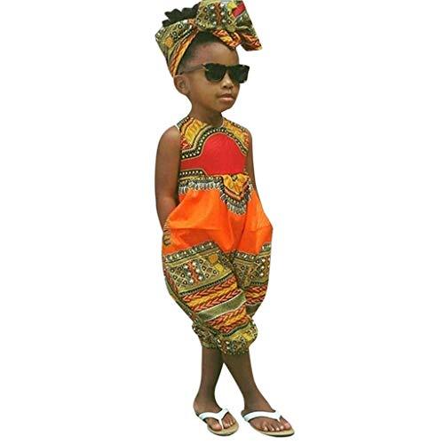 Sasstaids Säuglinge Set Kleinkind Kinder Baby Mädchen Outfits Kleidung Afrikanischer Print Ärmel weniger Strampler Jumpsuit -