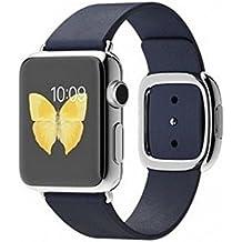 Apple Watch Edelstahl Smartwatch , Größe :38 mm Gehäuse, Armband:Leder - Modern, Armbandfarbe:Blau - L (160-180mm)