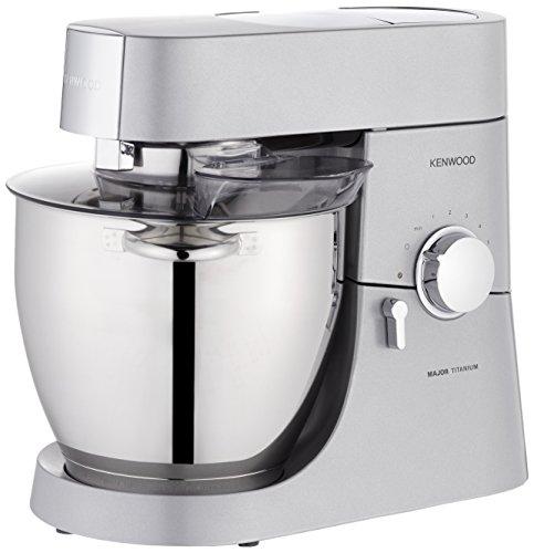 Kenwood KMM 06007 Major Titanium Küchenmaschine (inklusive Glasmixaufsatz, Mulitzerkleinerer, 2 Edelstahl Schüssel) silber