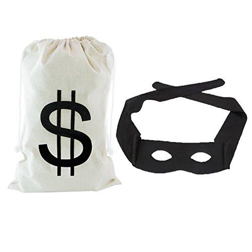 Maskerade Maske Karneval Halbmaske Zorro Maske Dieb Kostüm mit Geldsack (Halloween-kostüm Ideen, Die Keine Maske)