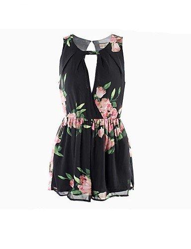 GSP-noir / blanc floral impression combinaisons des femmes, sans manches micro-élastique sexy black-m