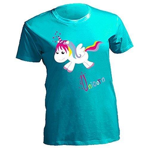 Damen Curves T-Shirt Lady Damenshirt Sommershirt Oversize Plussize Plus Size Einhorn Sterne Stars Unicorn happy Türkis