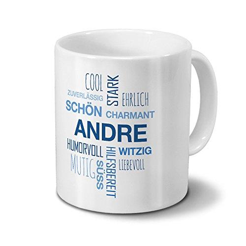 Tasse mit Namen Andre Positive Eigenschaften Tagcloud - Blau - Namenstasse, Kaffeebecher, Mug, Becher, Kaffeetasse