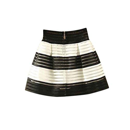 Vovotrade Las mujeres de talle alto tutú faldas plisadas de la cremallera Midi falda elástico (Negro +