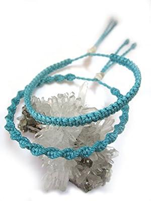 X2 Bracelets brésiliens/amitié/surf/bohème/en fil Bleu Ciel/Turquoise tissés/tressés main en macramé forme spirale et plat avec du fil ciré et ajustable Réf.PP+PS229
