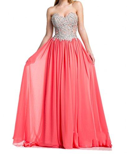 Victory Bridal Rosa Traegerlos Herzausschnitt Chiffon Abendkleider Abiballkleider Abschlussballkleider Lang A-linie Rock Rot