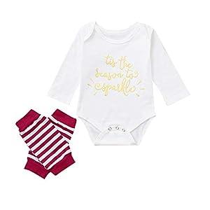 Proumy ◕ˇ∀ˇ◕Baby Kleidung Set Neugeborene Jungen Mädchen Jumpsuit Kurzarm Brief Strampler Overall Tops+Beinwärmer Bodysuit Outfits Spielanzug Set