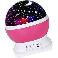 Favsonhome Lámpara de Noche, Proyector Estrella Romántica LED Luz Nocturna 360 Grados Rotación 4 Bombillas LED 9 Luz Cambio de Color con Cable USB para Cumpleaños, Fiestas, Dormitorio de Niños (Rosa)