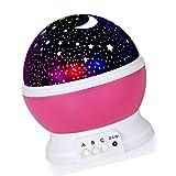 Favsonhome Nachtlicht, Stern-Projektor, Romantisches LED-Nachtlicht, 360 Grad drehbar, 4 LED-Leuchtmittel, 9 Lichtfarbwechsel mit USB-Kabel für Geburtstag, Party, Kinderzimmer (pink)