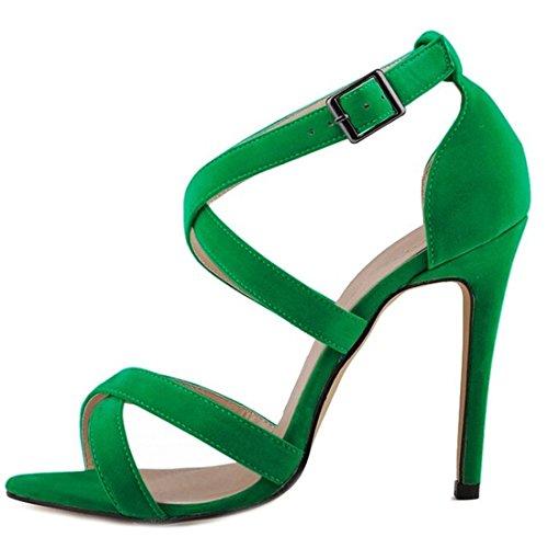 Oasap Damen Elegant Knöchelriemen Pfennigsabsätzen Sandalen Green