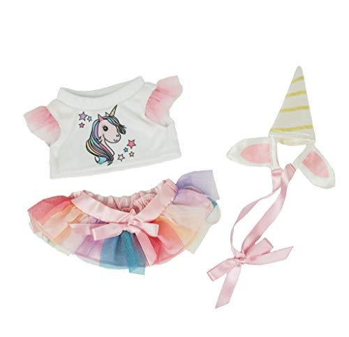 Ours To Do Un Ours. Une Histoire. Set Einhorn aus Tüll Regenbogen 20 cm Kleidung für Teddybär, Puppen, Kuscheltiere