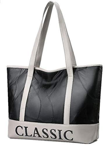 WEIZHE Genähte Schaffell-Damen Tasche Kontrast Buchstaben Tragbare Leder Große Kapazität Umhängetasche -