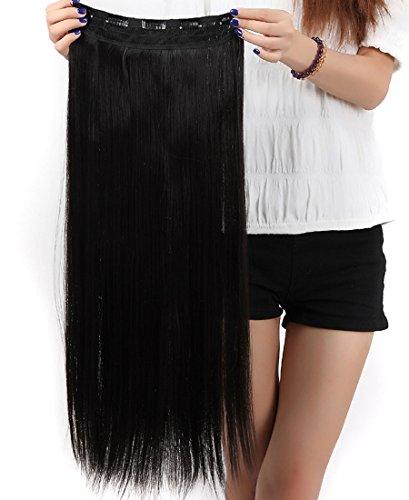 S-noilite® Haarverlängerungen 3/4 Voller Kopf-Haar-Verlängerungen Klipp gerade lockig 5 Clips, Lang Naturschwarz