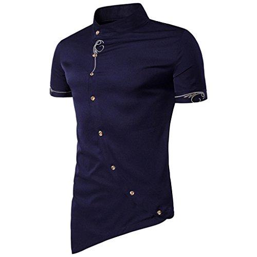 Herren T-shirt,Sonnena Männer Casual Button Hemd Knopf Mandarin Collar Männer Smoking Hemden Polyester/Kurzarm/Mandarin Kragen/Solid/Fashion/1st Tops (L, Gut Marine)