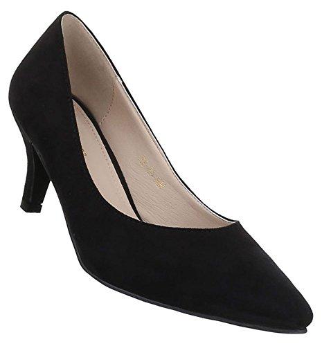 Damen Pumps Schuhe klassische Abendschuhe Business Schwarz Elfenbein Blau 36 37 38 39 40 41 Schwarz