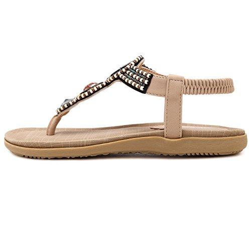 aux femmes tongs Chaussures en sandale Des styles de Bohemia perlés abricot