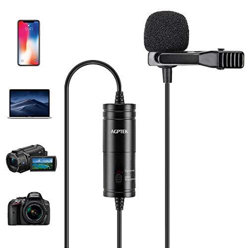 AGPTEK Lavaier Microfono Condensatore Omnidirezionale per PC Cellurari Camere con Clip Riduzione del Rumore e Ideale per Youtuber/Intervista/Conferenza Video/Podcast Cavo da 6M, AC05B, Nero