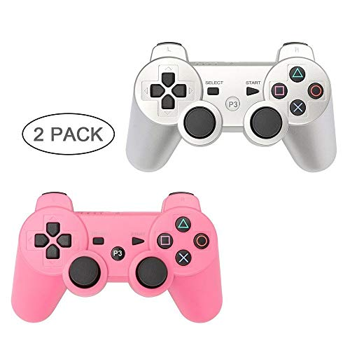 PS3 Controller Wireless 2 Pack Double Shock Gamepad für Playstation 3 Fernbedienungen, Sixaxis Bluetooth PS3 Controller Silber Sliver+Pink