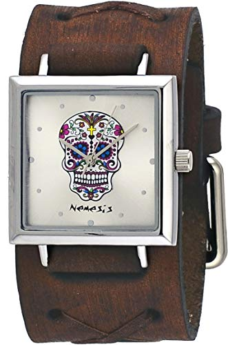 Nemesis #BFXB955S Women's Sugar Skull Silver Dial Brown Double X Wide Leather Band Watch