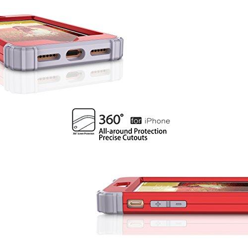 WE LOVE CASE iPhone 7 Coque, Étui de Protection en Premium Hard Plastique Dur Housse Mince et Clair, 2 in 1 Bumper Anti-Rayures Cas Couverture Anti-dérapante Coque pour Apple iPhone 7 - Or Rose rouge