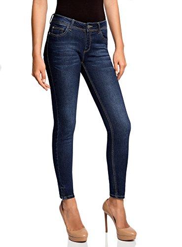 oodji Ultra Donna Jeans Skinny con Cerniere, Blu, 29W/32L (IT 46 / EU 29 / L)