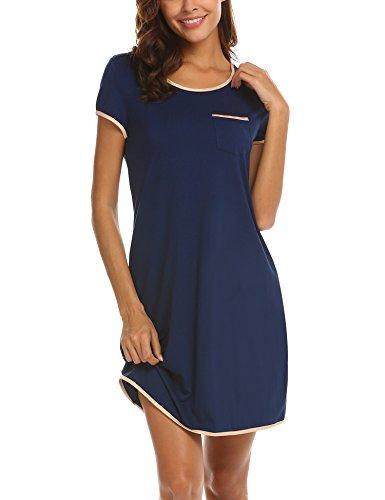 MAXMODA Damen Nachthemd Nachtkleid Sleepshirt Nachtwäsche Schlafkleid Kurz Sleepwear Hauskleid Mit Navy Blau M