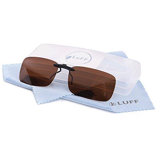 Polarisierte Unisex-Clip auf Sonnenbrille für verschreibungspflichtige Brillen-gute Clip-Stil Sonnenbrille für Myopie Brille im Freien / Fahren / Angeln (Brown)