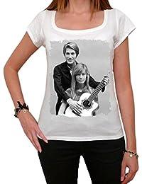 Jacques Dutronc Françoise Hardy, tee shirt femme,Blanc, t shirt femme,cadeau