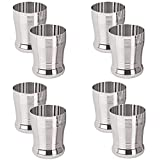 Sharda Metals Set Of 8 Stainless Steel Water Juice Glasses Set Dinning Table Accessories