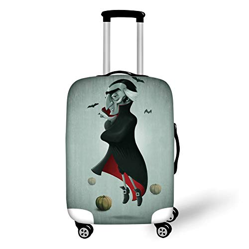 Suitcase Protector,Vampire,Creepy Halloween Night Pumpkins and Old Vampire with Cape Flying Bats,Black Almond Green Red,for Travel ()