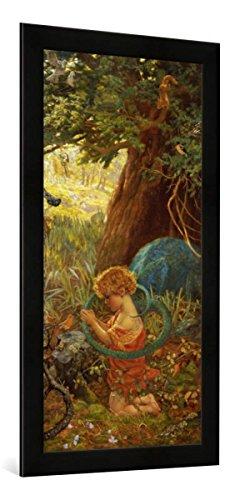 Gerahmtes Bild von Arthur Hughes Die Rettung, Kunstdruck im hochwertigen handgefertigten Bilder-Rahmen, 50x100 cm, Schwarz matt -