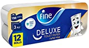 Fine, Sterilized Toilet Paper, Deluxe, 150 Sheets, 3 Ply, pack of 12 rolls