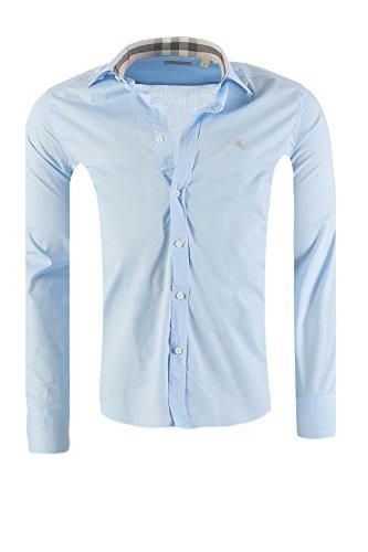 Camicia burberry brit mens slim fit, in diversi colori, dimensione:m, colore:azzurro