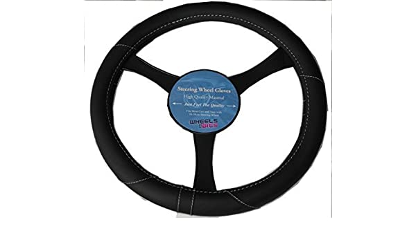 WheelsNBits/® BLACK /& White Stitching PU LEATHER LOOK UNIVERSAL CAR STEERING WHEEL COVER//GLOVE//PROTECTOR KA1325