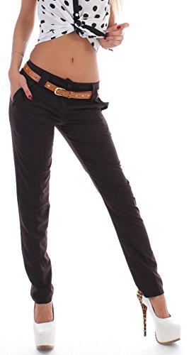 Donna pantaloni a vita alta pantaloni Chino Business fianchi Reiter pantaloni Tessuto pantaloni XS 34 s 36 m 38 3838 L 40 XL 42 XXL 44 Marrone