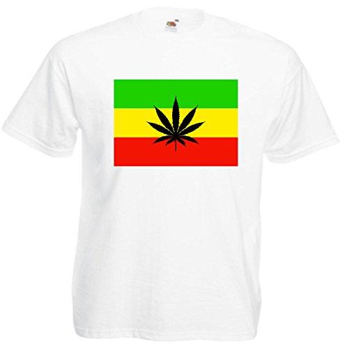 T-Shirt Weed Cannabis Joint Freiheit Spass Fun Rauchen Kiffen Gras Bong Haschisch Motiv 36 viele Farben S M L XL 2XL 3XL 4XL Damen Herren und Kinder 104 bis 152 Weiß