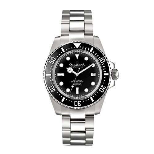 OceanevaTM Deep Marine Explorer 1000M Pro Diver Reloj Negro con Bisel de cerámica para Hombre