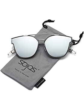 SojoS Gafas De Sol Unisex Doble Puente Marco Rectangular SJ2038