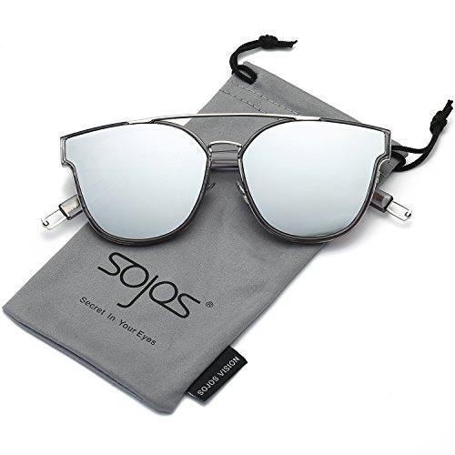 SOJOS Schick Klassische Retro Doppelt Metallbrücken Rechteckig Sonnenbrille Damen Herren SJ2038 mit Silber Rahmen/Silber Verspiegelt Linse